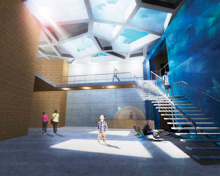 Building interior with skylights rending by Alex Webber