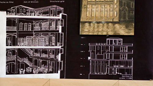 white architectural drawings with black background