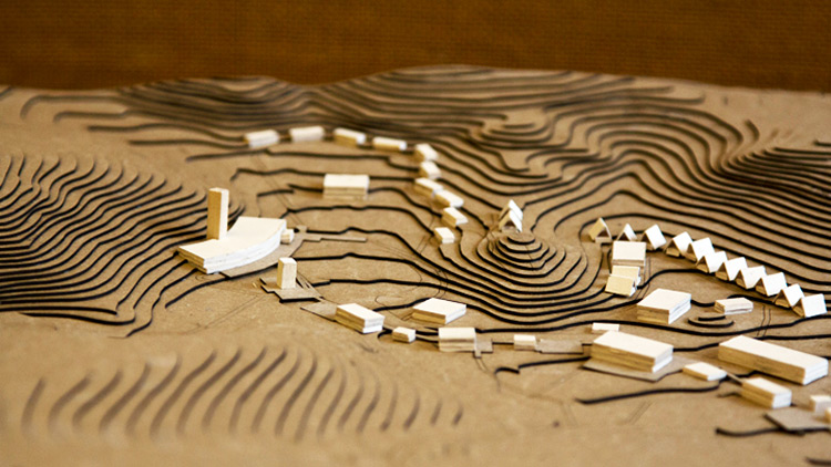 model showing landscape and multiple buildings