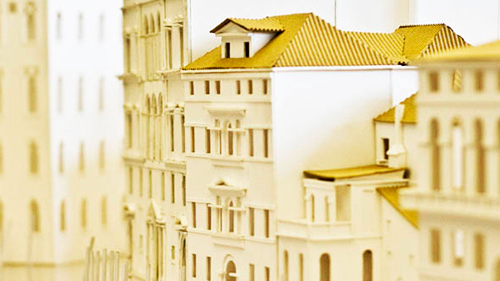 architectural model of multi-story building
