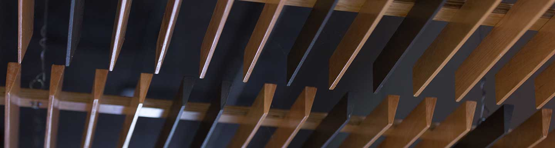 slatted wood ceiling