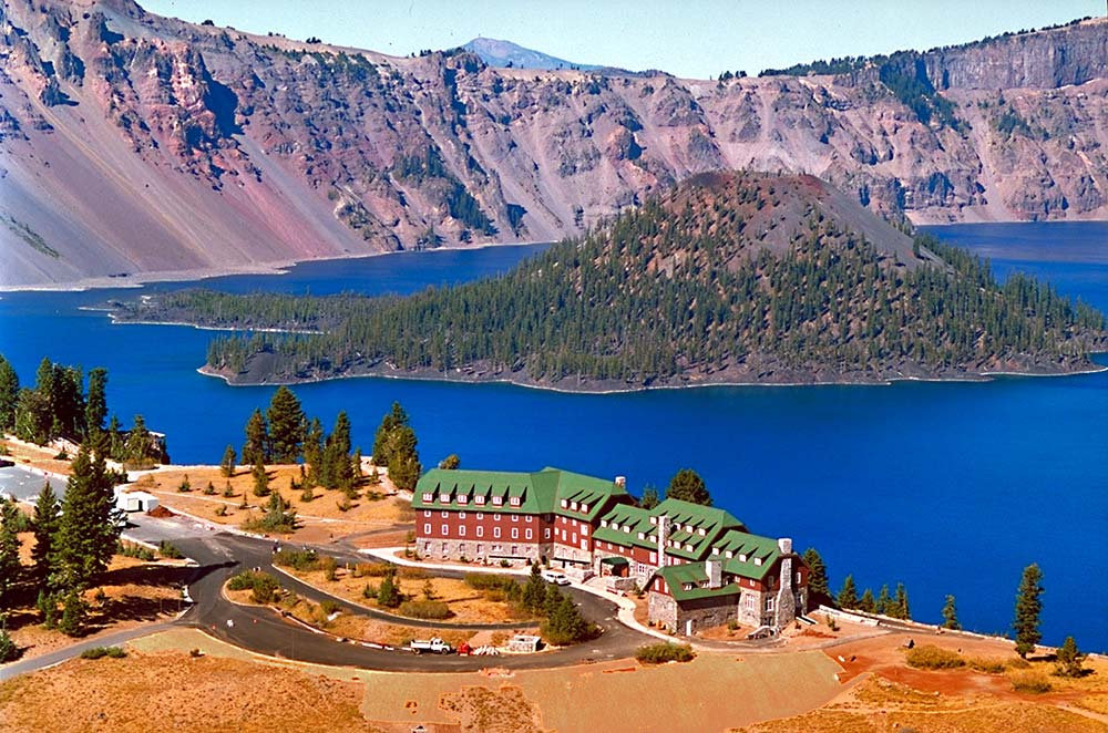 Crater Lake Lodge and Crater Lake from above