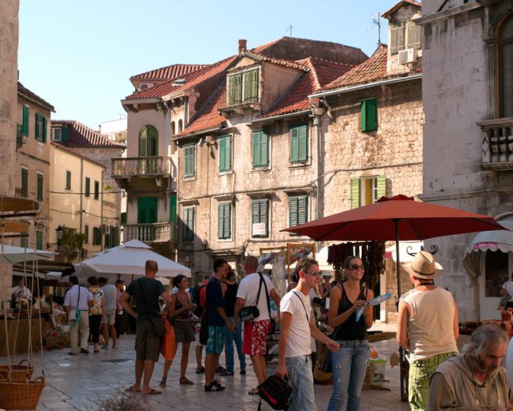 Croatia Field School in courtyard with stone buildings