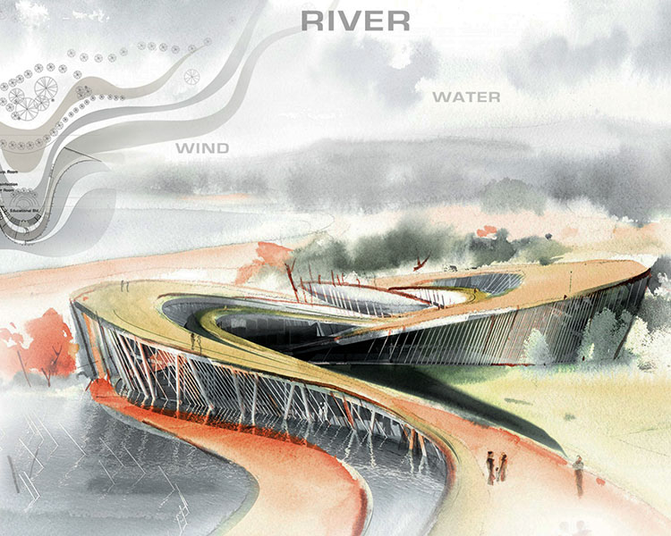 rendering showing curving pathway