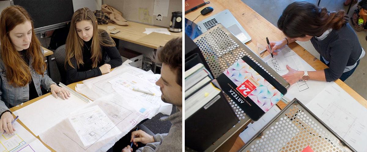 students at work in design studios