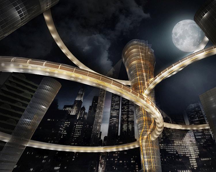 Mumbai at night rendering by Gloria Ge Wang