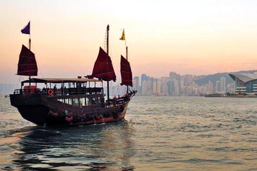 Hong Kong skyline and boat