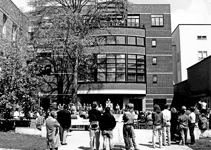 Students, faculty, and staff listen as the new A&AA building project is officially dedicated in 1991.