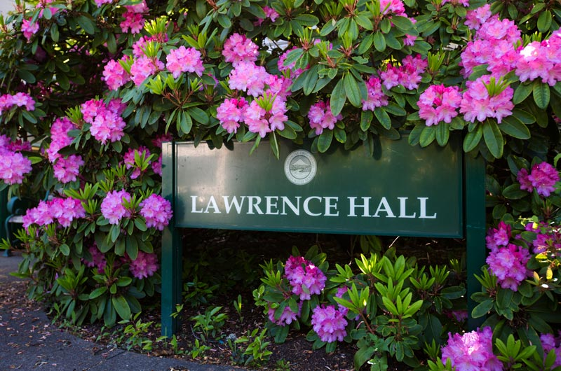 Lawrence Hall building sign