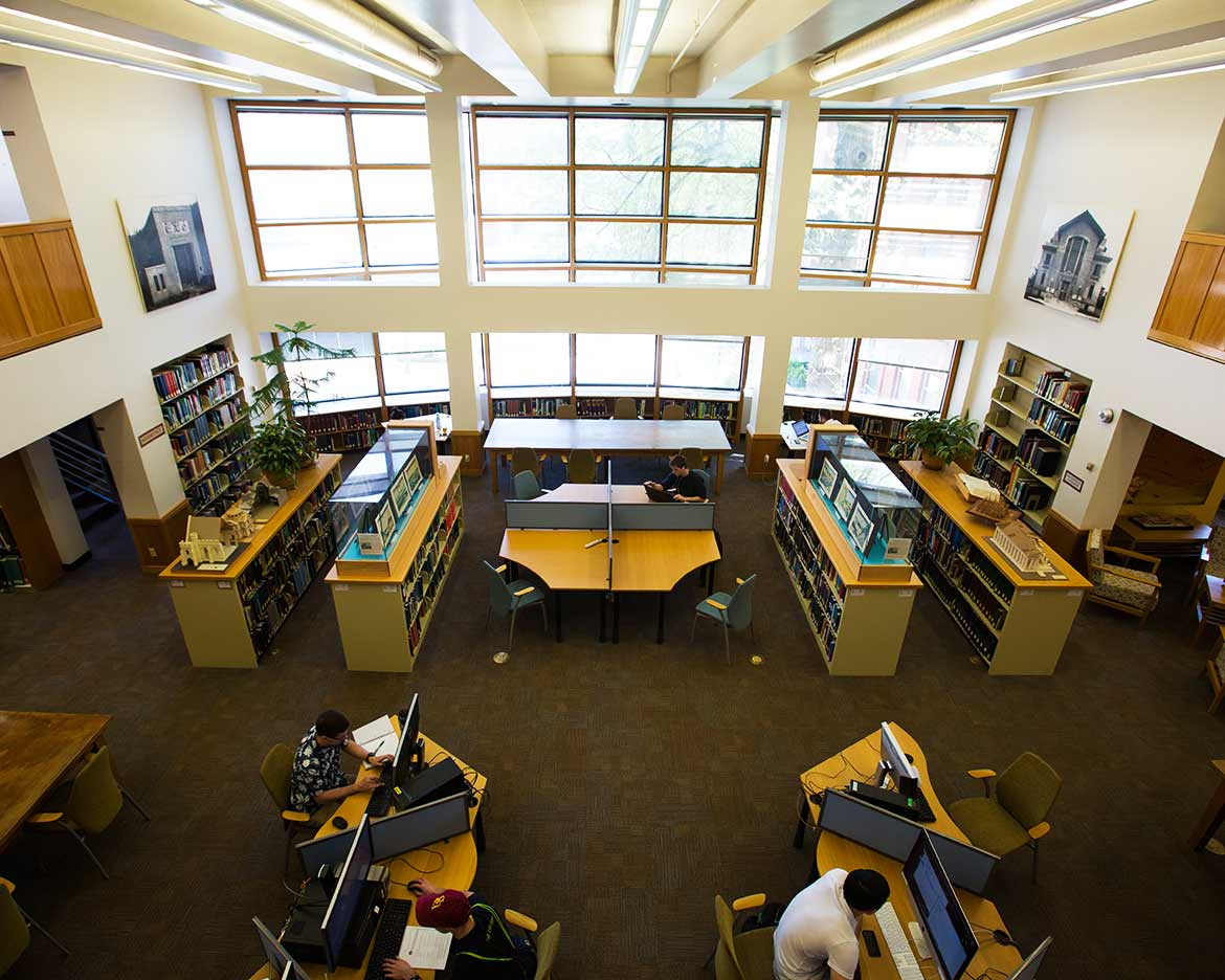 looking down from balcony into Design Library