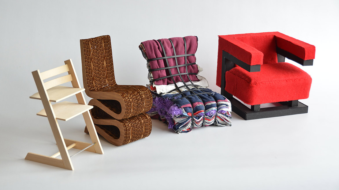 four chairs created by students