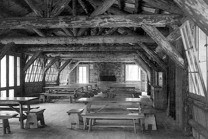 rustic dining hall interior