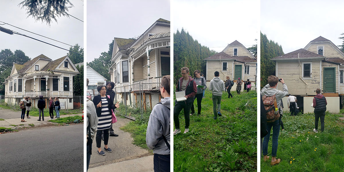 Photos of students and faculty outside the Mayo House in Portland