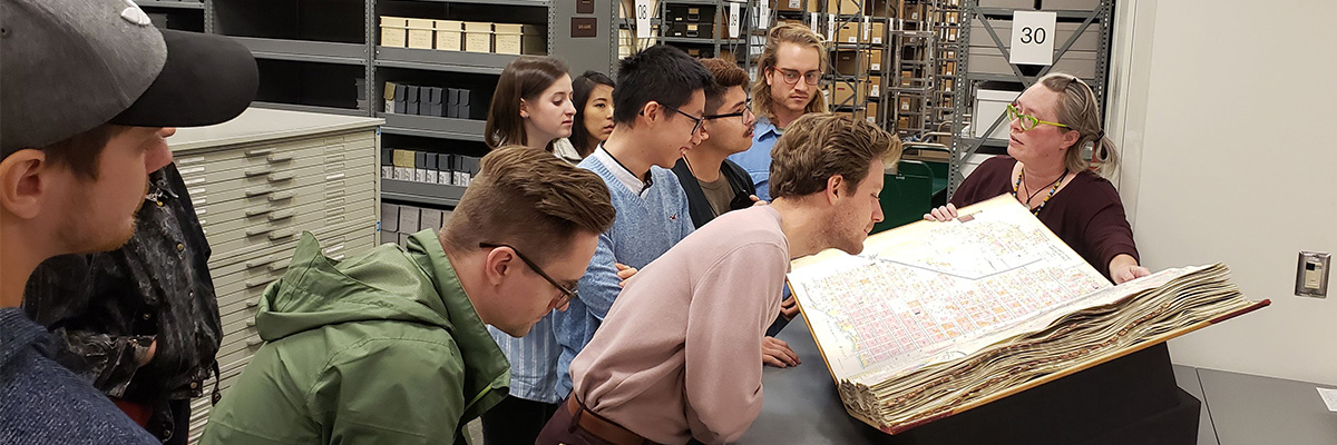 Photo of architecture students at the City of Portland Archives