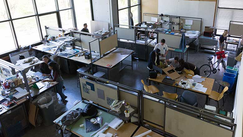 Students in a studio space