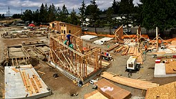Tiny houses under construction in August in Emerald Village.