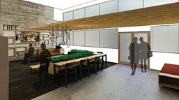 Interior architectural rendering for a basic needs hub