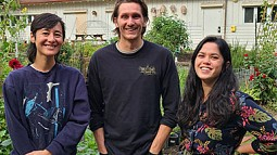 Photo of three students at the UO Urban Farm