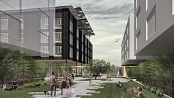 Fabricating Wellness: rendering of courtyard
