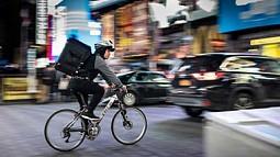 Biker in an urban setting